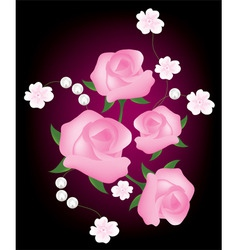 vector abstract background with pink roses vector image vector image