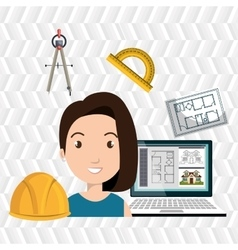 Woman architect plane tool vector