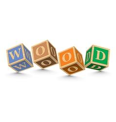 Word wood written with alphabet blocks vector