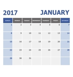 2017 January calendar week starts Sunday vector image