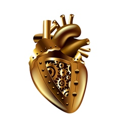 Steampunk human heart isolated vector