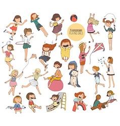 Big set of fun kids in various summer activities vector