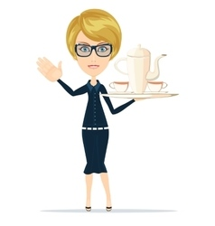 Waitress slender girl carrying a tray with tea vector