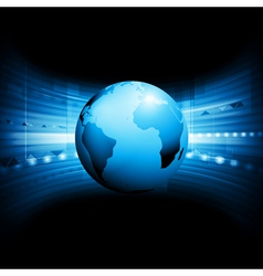 technology background with globe vector image