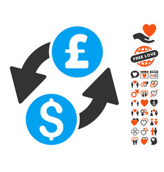 dollar pound exchange icon with lovely bonus vector image