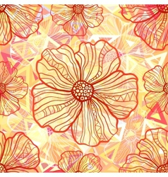 Ornate orange flowers on abstract triangles vector