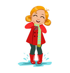 Girl in red coat and rubber boots kid in autumn vector