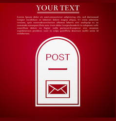 Mail box icon post box flat on red background vector