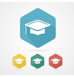 Education cup flat icon graduation cap vector