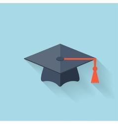 Graduation academic cap flat icon vector