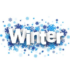 Winter paper sign over snowflakes vector