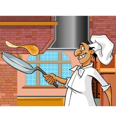Cartoon cheerful cook with a frying pan vector