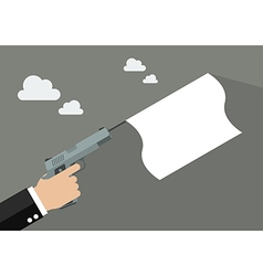 Hand holding handgun with a white flag vector