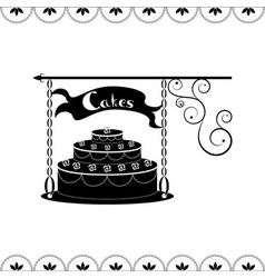 Signboard of tasty cakes for holidays and parties vector