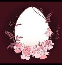 oval frame with pink roses vector image