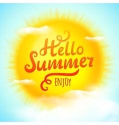 Hello summer typographic inscription on 3d vector