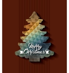 Polygonal pine tree icon merry christmas design vector