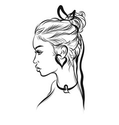 Beautiful woman line art vector