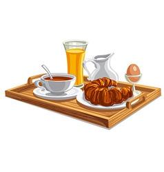Breakfast on tray in hotel vector
