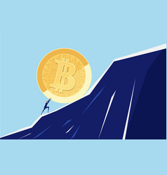 Businessman pushing a big bitcoin up the hill vector