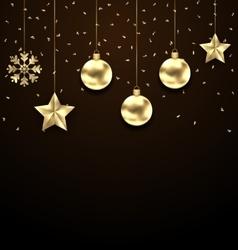 Christmas dark background with golden balls stars vector