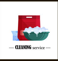 Cleaning service flat plastic basin with soap vector