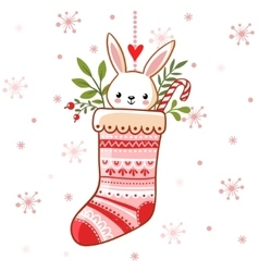 Cute bunny in a Christmas sock vector image