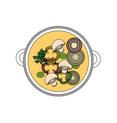 Delicious bowl of fresh vegetable soup vector