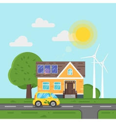 Flat style of electric car and house with solar vector