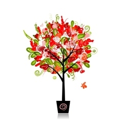 Floral tree in the pot for your design vector image