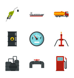 fuel and oil icons set flat style vector image vector image