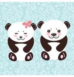 Girl and boy kawaii funny panda white muzzle with vector