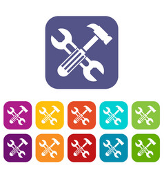 Hammer and screw wrench icons set vector