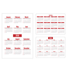 Horizontal and vertical pocket calendar on 2018 vector