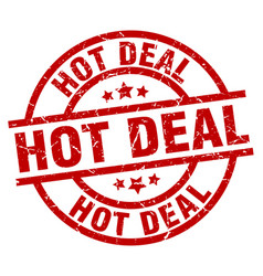 Hot deal round red grunge stamp vector