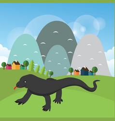 Komodo dragon reptile with vector