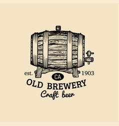 Kraft beer barrel logo old brewery icon hand vector