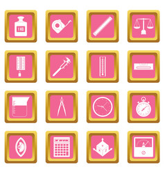 Measure precision icons pink vector