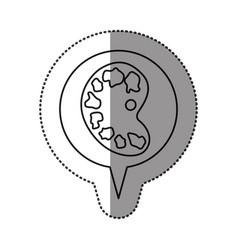 Monochrome contour sticker with art palette icon vector