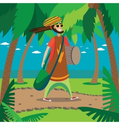 Rasta man walking vector image