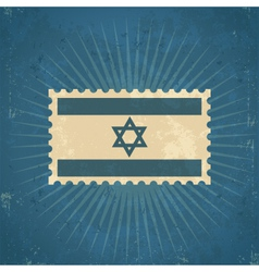 Retro Israel Flag Postage Stamp vector image vector image