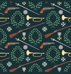 Seamless pattern with weapon of the 19th century vector