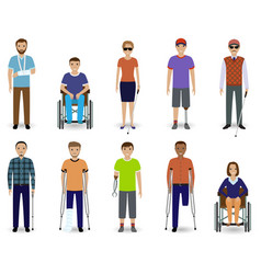 set of ten disabled people characters disability vector image vector image