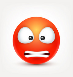 Smileyangry emoticon red face with emotions vector