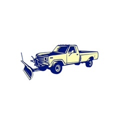 Snow Plow Truck Woodcut vector image