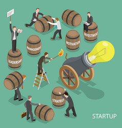 Startup flat isometric low poly concept vector