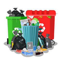 steel garbage bin full of trash vector image