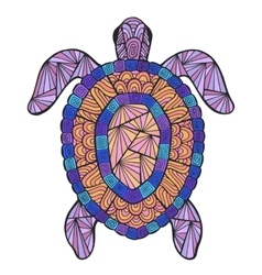 Stylized turtle with ethnic pattern vector
