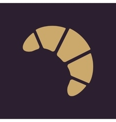 The croissant icon breakfast and dessert bakery vector