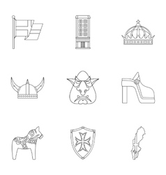 Tourism in sweden icons set outline style vector